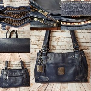 Tignanello Denim Blue Real Leather Sturdy Bag